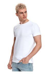 TOP SECRET - T-shirt strukturalny. Kolor: biały. Materiał: bawełna, tkanina, jeans. Długość rękawa: krótki rękaw. Długość: krótkie. Sezon: lato. Styl: klasyczny