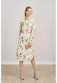 Marie Zélie - Sukienka Eliza Villette kremowa. Kolor: kremowy. Materiał: bawełna, wiskoza. Długość rękawa: długi rękaw. Typ sukienki: szmizjerki. Styl: klasyczny