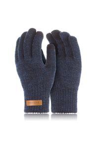BRODRENE - Rękawiczki męskie zimowe do smartfonów Brodrene R1 granatowe. Kolor: niebieski. Materiał: materiał. Sezon: zima
