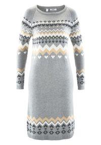 Sukienka dzianinowa bonprix szary melanż wzorzysty. Kolor: szary. Materiał: wiskoza, dzianina, materiał, akryl, wełna, poliamid, poliester. Wzór: melanż