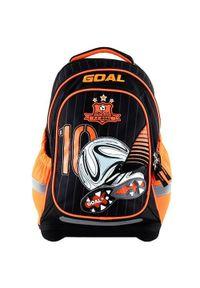 Goal Docelowy plecak szkolny, Bramka 3D, kolor czarno-pomarańczowy. Kolor: pomarańczowy, czarny, wielokolorowy