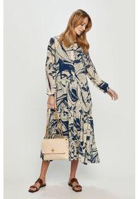 Wielokolorowa sukienka midi, ze stójką, na co dzień