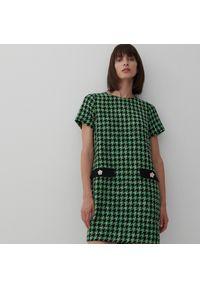 Reserved - Sukienka w pepitkę - Khaki. Kolor: brązowy