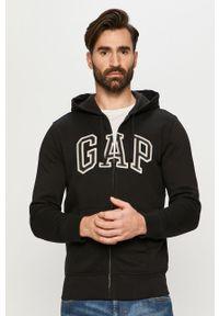 Czarna bluza rozpinana GAP z kapturem, casualowa, na co dzień, z aplikacjami