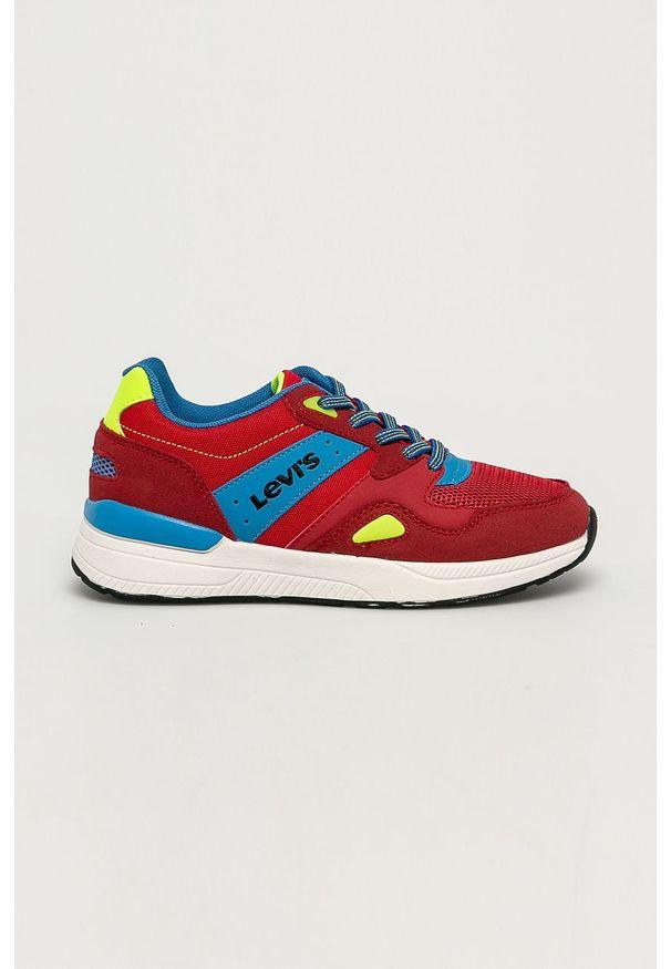 Czerwone buty sportowe Levi's® w kolorowe wzory, na sznurówki, z cholewką