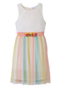 Sukienka dziewczęca na uroczyste okazje, w cieniowanych kolorach bonprix biel wełny. Kolor: biały. Materiał: wełna