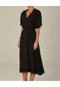M.A.B.E - Czarna sukienka midi Ines. Kolor: czarny. Materiał: koronka, bawełna. Wzór: koronka. Długość: midi