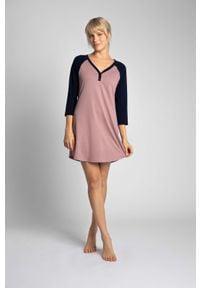 MOE - Dwukolorowa Koszula Nocna z Bawełny - Wrzosowa. Kolor: fioletowy. Materiał: bawełna