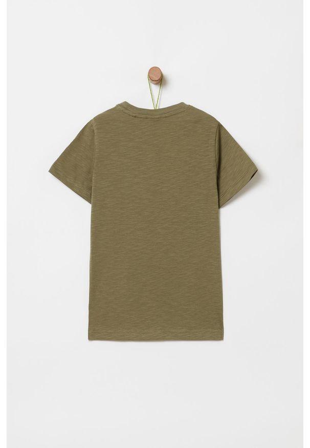 Zielony t-shirt OVS z nadrukiem, z okrągłym kołnierzem, casualowy