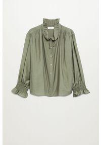 Zielona bluzka mango na co dzień, z długim rękawem