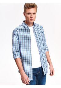 Niebieska koszula TOP SECRET na jesień, casualowa, na co dzień