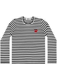 COMME DES GARCONS PLAY - Koszulka w paski z sercem. Kolor: czarny. Materiał: bawełna, jeans. Długość rękawa: długi rękaw. Długość: długie. Wzór: paski. Styl: klasyczny #5