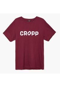 Cropp - Koszulka z nadrukiem Bordowy. Kolor: czerwony. Wzór: nadruk