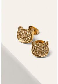 Złote kolczyki Karl Lagerfeld metalowe, z aplikacjami