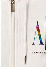 Biała bluza rozpinana Armani Exchange z nadrukiem, na co dzień, z kapturem, casualowa