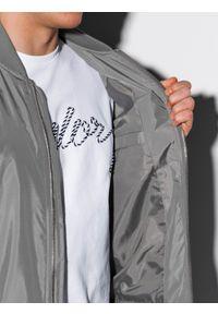 Ombre Clothing - Kurtka męska przejściowa bomberka C439 - szara - XXL. Kolor: szary. Materiał: poliester