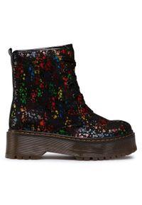 Czarne buty trekkingowe Maciejka w kolorowe wzory