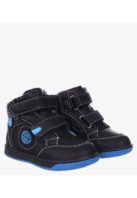 Niebieskie buty zimowe Casu na rzepy