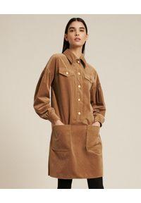 Luisa Spagnoli - LUISA SPAGNOLI - Sztruksowa sukienka koszulowa Graduale. Kolor: brązowy. Materiał: sztruks. Typ sukienki: koszulowe. Styl: klasyczny. Długość: mini