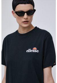 Ellesse - T-shirt bawełniany. Okazja: na co dzień. Kolor: czarny. Materiał: bawełna. Wzór: gładki. Styl: casual
