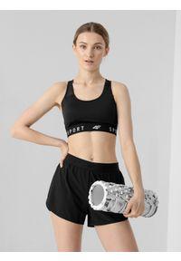 4f - Biustonosz treningowy z niskim wsparciem damski. Materiał: włókno, mesh. Rodzaj stanika: wyciągane miseczki. Sport: fitness