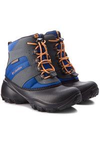 columbia - Śniegowce COLUMBIA - Youth Rope Tow III Waterproof BY1322 Azul/Orange Blast 437. Kolor: szary. Materiał: nubuk, materiał, skóra