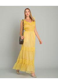 LOVE SHACK FANCY - Sukienka maxi z jedwabiu. Typ kołnierza: kokarda, dekolt kwadratowy. Kolor: żółty. Materiał: jedwab. Typ sukienki: rozkloszowane. Styl: boho. Długość: maxi