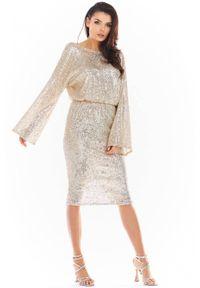 Awama - Błyszcząca cekinowa sukienka z dekoltem V z tyłu. Typ kołnierza: dekolt w łódkę. Materiał: poliester, elastan, materiał. Długość: midi