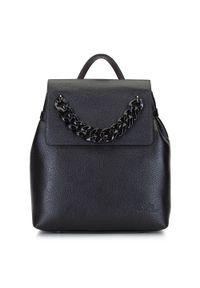 Wittchen - Damski plecak skórzany z łańcuchem. Kolor: czarny. Materiał: skóra. Wzór: haft. Styl: elegancki