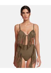 Wolford - WOLFORD - Top od bikini z frędzlami. Kolor: zielony. Materiał: materiał. Wzór: aplikacja
