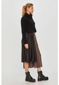 Czarna sukienka AllSaints na ramiączkach, z golfem, prosta, na co dzień