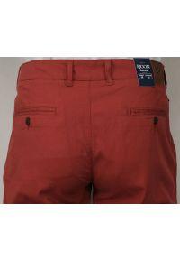 Rigon - Męskie Spodnie Bawełniane, Chinosy, Zwężane, Ceglaste. Kolor: czerwony. Materiał: lycra, bawełna
