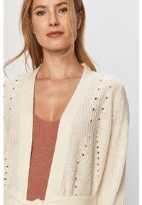 Kremowy sweter rozpinany Vila z długim rękawem, na co dzień, casualowy