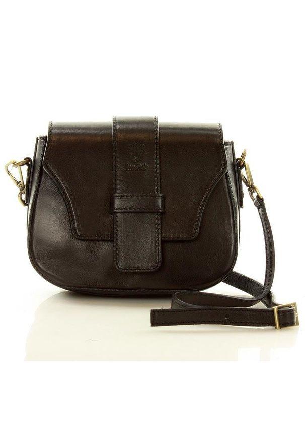 Vera pelle - Czarna Skórzana Torebka Crossbody Bag. Kolor: czarny. Materiał: skórzane