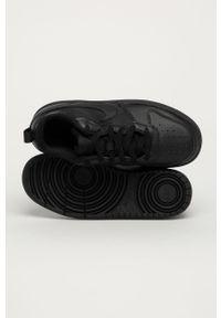 Czarne buty sportowe Nike Kids z okrągłym noskiem, na sznurówki, Nike Court, z cholewką