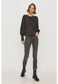 Szary sweter Jacqueline de Yong z długim rękawem, casualowy, długi, na co dzień