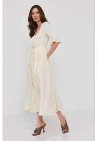 Kremowa sukienka Pennyblack midi, na co dzień, prosta