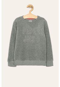 Szara bluza Pepe Jeans casualowa, bez kaptura, z aplikacjami
