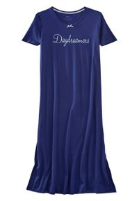 Długa koszula nocna bonprix ciemnoniebieski z nadrukiem