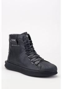 Czarne buty sportowe GOE na sznurówki, z okrągłym noskiem, z cholewką