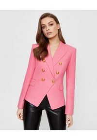 Balmain - BALMAIN - Różowa marynarka z bawełny. Kolor: różowy, wielokolorowy, fioletowy. Materiał: bawełna