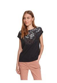 TOP SECRET - Luźny t-shirt z nadrukiem. Kolor: czarny. Materiał: tkanina, bawełna. Długość rękawa: krótki rękaw. Długość: krótkie. Wzór: nadruk. Sezon: wiosna. Styl: klasyczny, wakacyjny