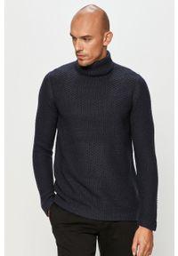 Niebieski sweter Only & Sons z golfem, casualowy, na co dzień