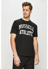 Russell Athletic - T-shirt. Okazja: na co dzień. Kolor: czarny. Materiał: dzianina. Wzór: nadruk. Styl: casual