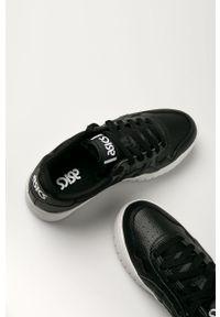 Czarne buty sportowe Asics z okrągłym noskiem, z cholewką, na średnim obcasie, na obcasie