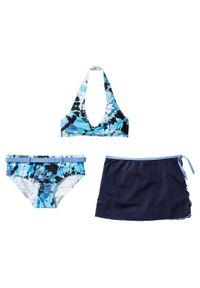 Bikini dziewczęce + spódniczka (3 części) bonprix niebiesko-biały batikowy. Kolor: niebieski