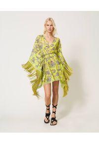 Żółta sukienka TwinSet w kwiaty, boho