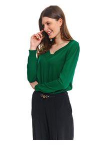 Zielony sweter TOP SECRET na co dzień, klasyczny, na lato