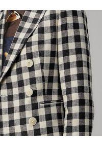 Tory Burch - TORY BURCH - Lniana marynarka w kratę. Kolor: czarny. Materiał: len. Długość rękawa: długi rękaw. Długość: długie. Styl: klasyczny