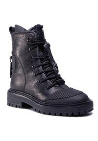 Czarne buty trekkingowe Togoshi z cholewką, z cholewką przed kolano